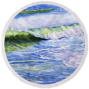 Sunlit Surf Round Beach Towel