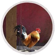 Sunning Rooster Round Beach Towel