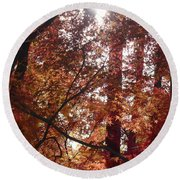 Sunny Autumn Day Poster Round Beach Towel