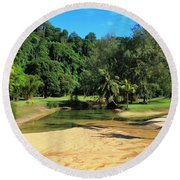 Sunny Beach Tioman Island Round Beach Towel
