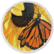 Sunny Butterfly Round Beach Towel