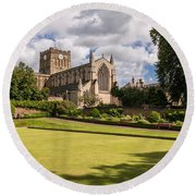 Sunny Day At Hexham Abbey Round Beach Towel