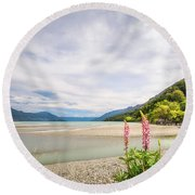 Sunny Day At Kinloch Wharf In New Zealand Round Beach Towel