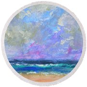 Sunny Day At The Sea Round Beach Towel