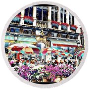 Sunny Day On The Grand Place Round Beach Towel
