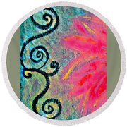 Sunny Day Pink Round Beach Towel