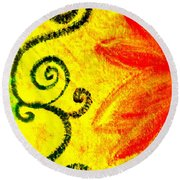 Sunny Day Red Round Beach Towel
