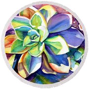 Sunny Day Succulent Round Beach Towel