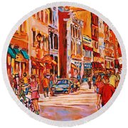 Sunny Downtown  Round Beach Towel