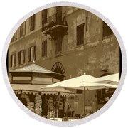 Sunny Italian Cafe - Sepia Round Beach Towel