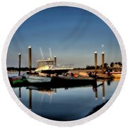 Sunny Morning At Onset Pier Round Beach Towel