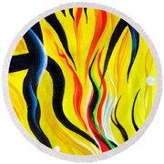 Sunny Morning, Energy. Abstract Art Round Beach Towel