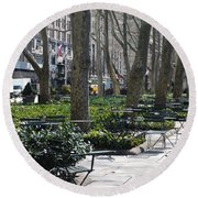 Sunny Morning In The Park Round Beach Towel