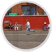 Sunny Morning On A Boardwalk In Brighton Beach  Round Beach Towel