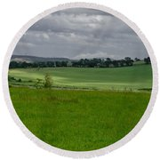 Sunny Patches On The Field. Round Beach Towel