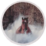 Sunny Running For The Barn. Round Beach Towel