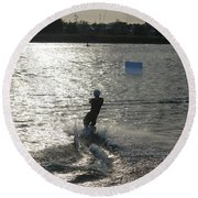 Sunny Ski Round Beach Towel