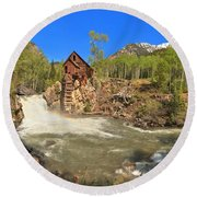 Sunny Skies Over The Crystal Mill Round Beach Towel