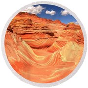 Sunny Skies Over The Wave Round Beach Towel