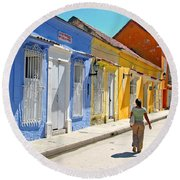 Sunny Street With Colored Houses - Cartagena-colombia Round Beach Towel