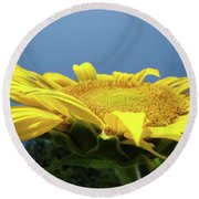 Sunny Summer Sunflowers Floral Art Baslee Troutman Round Beach Towel