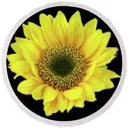 Sunny Sunflower Black Yellow Round Beach Towel