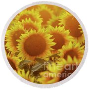 Sunny Sunflower Sunset Round Beach Towel