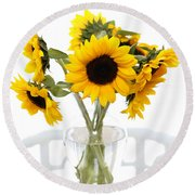 Sunny Vase Of Sunflowers Round Beach Towel