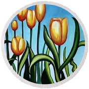 Sunny Yellow Tulips Round Beach Towel