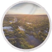 Sunraise Morning Summer Time Lake And Green Forest, In Poland  Round Beach Towel