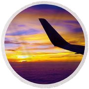 Sunrise Above The Clouds Round Beach Towel