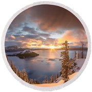 Sunrise After Summer Snowfall Round Beach Towel