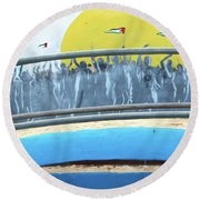 Sunrise And Flags Round Beach Towel