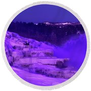Sunrise And Moonset Over Minerva Springs Yellowstone National Park Round Beach Towel