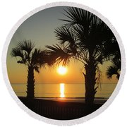 Sunrise And Palms Round Beach Towel