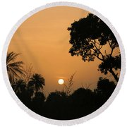 Sunrise And Silhouettes Round Beach Towel