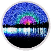 Sunrise And The City Round Beach Towel