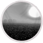 Sunrise And The Cotton Field Bw Round Beach Towel