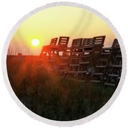 Sunrise And The Lifeguard Chairs  Round Beach Towel