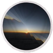 Sunrise At 30k  4 Round Beach Towel