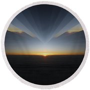 Sunrise At 30k  7 Round Beach Towel