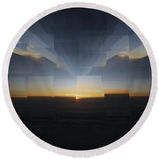 Sunrise At 30k  8 Round Beach Towel