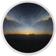 Sunrise At 30k  9 Round Beach Towel