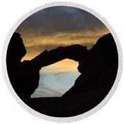 Sunrise At Arch Rock Round Beach Towel