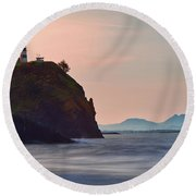 Sunrise At Cape Disappointment Round Beach Towel