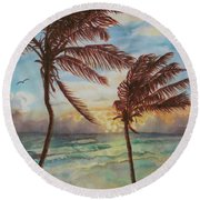 Sunrise At Cattlewash 4 Round Beach Towel