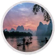 Sunrise At Lee River Round Beach Towel