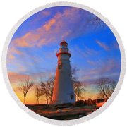 Sunrise At Marblehead Lighthouse Panorama Round Beach Towel