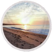 Sunrise At Medano Round Beach Towel