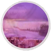 Sunrise At Minerva Springs Yellowstone National Park Round Beach Towel